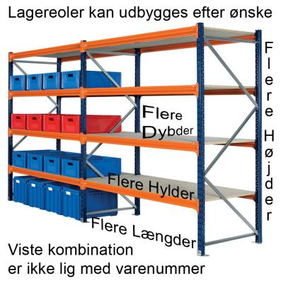 Lagerreol L:95xD:120xH:200cm 4 hylder