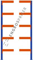 Lagerreol L:95xD:60xH:250cm 5 hylder